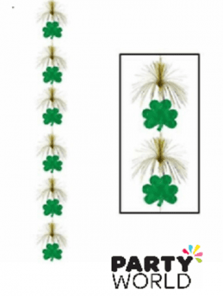 SHAMROCK FIREWORK STRINGER HANGING DECORATION ST PATRICKS DAY