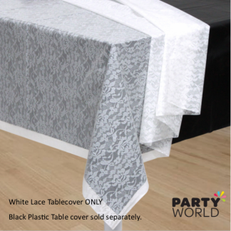 White Lace Plastic Table cover (transparent)