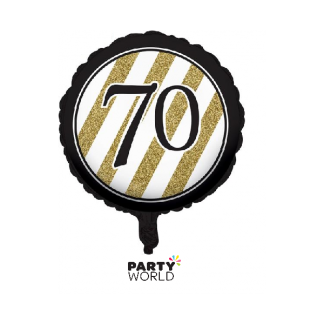 Black & Gold Stripes 70th Birthday Foil Balloon