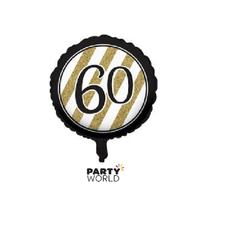 Black & Gold Stripes 60th Birthday Foil Balloon