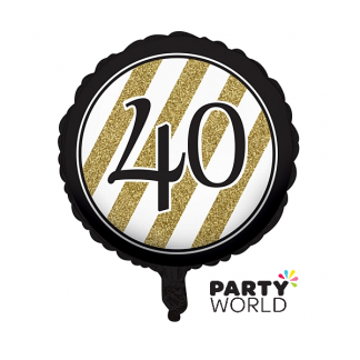 Black & Gold Stripes 40th Birthday Foil Balloon