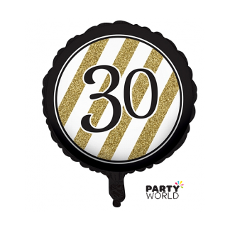 Black & Gold Stripes 30th Birthday Foil Balloon