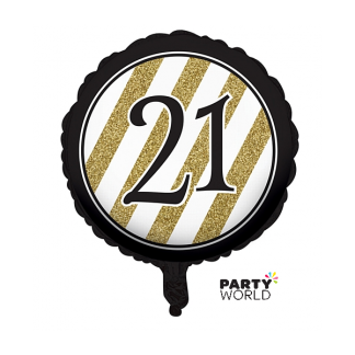 Black & Gold Stripes 21st Birthday Foil Balloon