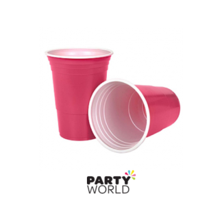 Hot Pink Plastic Cups (10) 500ml