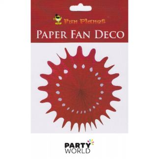 Red Paper Fan Deco - 30cm