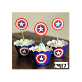 Captain America Cupcake Wrappers And Toppers (12)