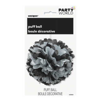 14in Black And Silver Puff Ball