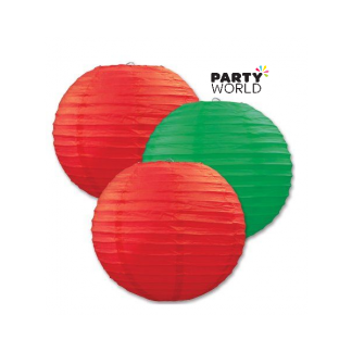 Paper Lanterns Green & Red (3)