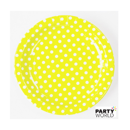 Yellow Polka Dot Paper Plates 7in (10)