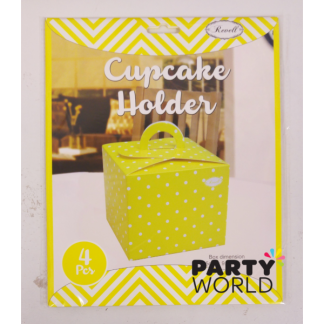Yellow Polka Dot Cupcake Holders (4)