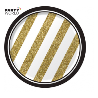 Black & Gold Stripes 7in Paper Plates (8)