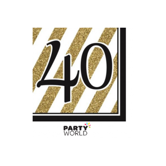 Black & Gold Stripes 40th Luncheon Napkins (16)