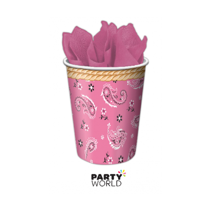 Pink Bandana Cowgirl Paper Cups (8)
