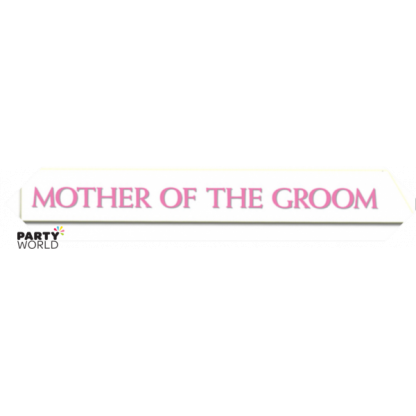 Mother of the Groom Satin Sash - White w/ Pink & Silver