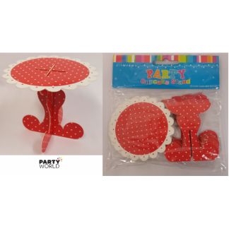 Red With White Polka Dots Mini Cupcake Stands (10)