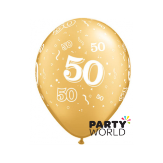 Qualatex Gold 50th Latex Balloons - 11inch (5)
