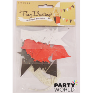 Mini Flag Bunting Pack White & Red & Black