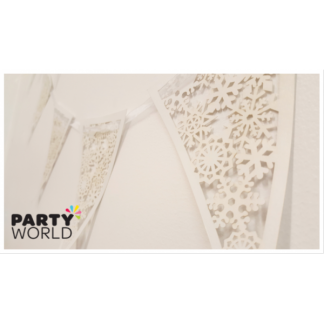 Snowflake Lace Look Card Flag Bunting