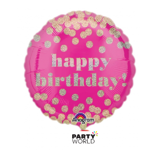 Dotty Holographic Happy Birthday Foil Balloon 18in