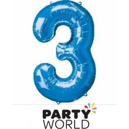 Giant Blue Foil Number Balloon - 3
