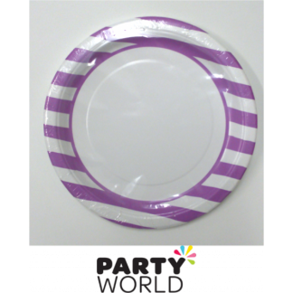 Stripe Paper Plates 9in - Pretty Purple (8)