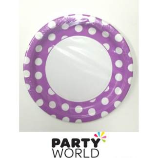 Polka Dot Paper Plates 9in - Pretty Purple (8)
