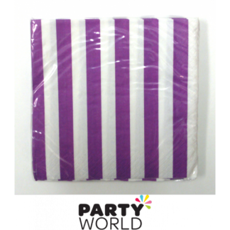 Stripe Beverage Napkins - Pretty Purple (16)