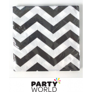 Chevron Beverage Napkins - Black (16)