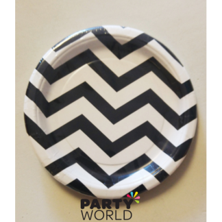 Chevron Paper Plates 7in - Black (8)