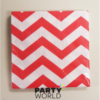 Chevron Luncheon Napkins - Red (16)