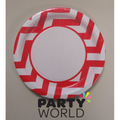 Chevron Paper Plates 9in - Red (8)