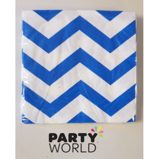 Chevron Beverage Napkins - Royal Blue (16)