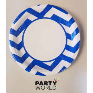Chevron Paper Plates 9in - Royal Blue (8)
