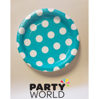 Polka Dot Paper Plates 7in - Caribbean Teal (8)