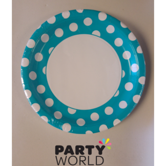 Polka Dot Paper Plates 9in - Caribbean Teal (8)