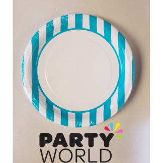 Stripe Paper Plates 9in - Caribbean Teal (8)