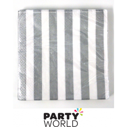 Stripe Luncheon Napkins - Silver (16)