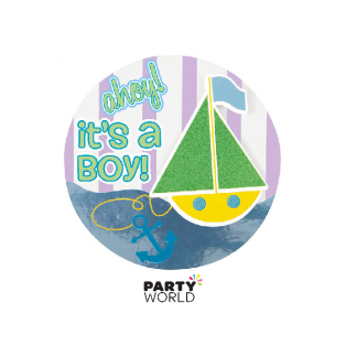 It's A Boy Baby Shower Button - Sailboat