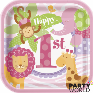 Pink Safari 1st Birthday Square Plate - 7inch (10)