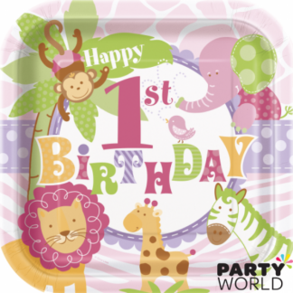 Pink Safari 1st Birthday Square Plate - 9inch (8)