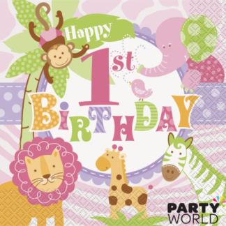 Pink Safari 1st Birthday Luncheon Napkin (20)