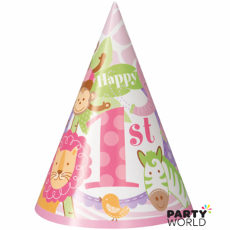 Pink Safari 1st Birthday Paper Hats (8)