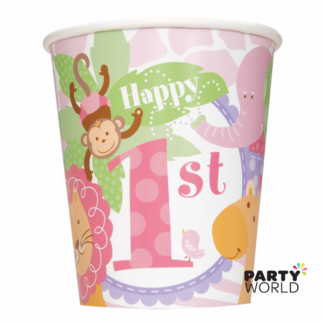 Pink Safari 1st Birthday Paper Cups (8)