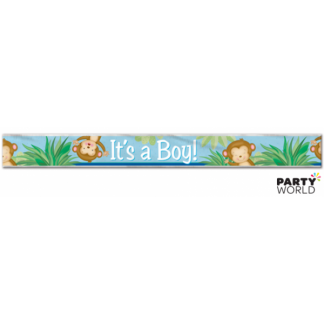 Boy Monkey Baby Shower Foil Banner
