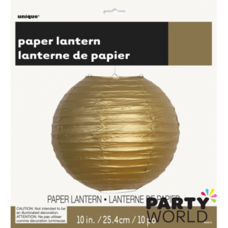 Gold Paper Lantern 10in