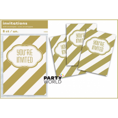 Golden Stripe Invitations (8)