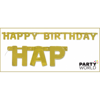 Golden 'Happy Birthday' Jointed Banner