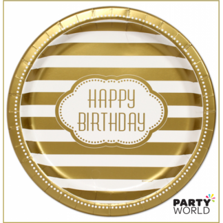 Golden Birthday Paper Plates - 9inch (8)