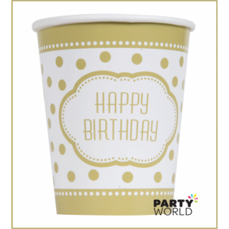 Golden Birthday Paper Cups (8)