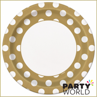 Gold Dot Paper Plate - 9inch (8)